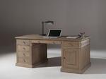 bureau gris avec 5 tiroirs et 1 porte